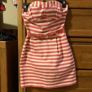 Coral/White Stripped Strapless Dress w/ Coral Belt